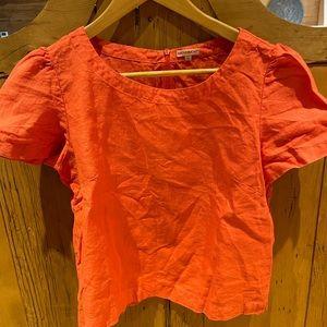 Cute linen orange red shirt